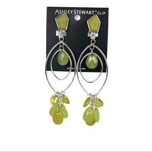 Fashion Earrings, Yellow/Green Beads, Silver Toned